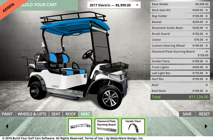 BYGC 2.7 EZGO RXV Build Your Golf Cart Add Ons: Fender Flare, Running Board, Roof Rack