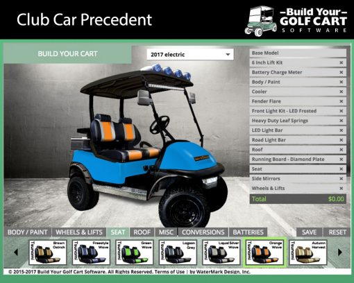 club car precedent build your golf cart software