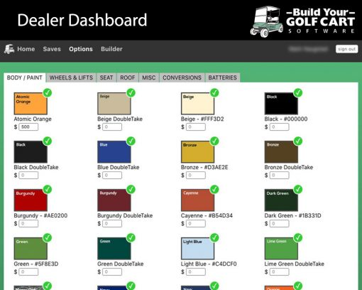 dealer dashboard build your golf cart software paint