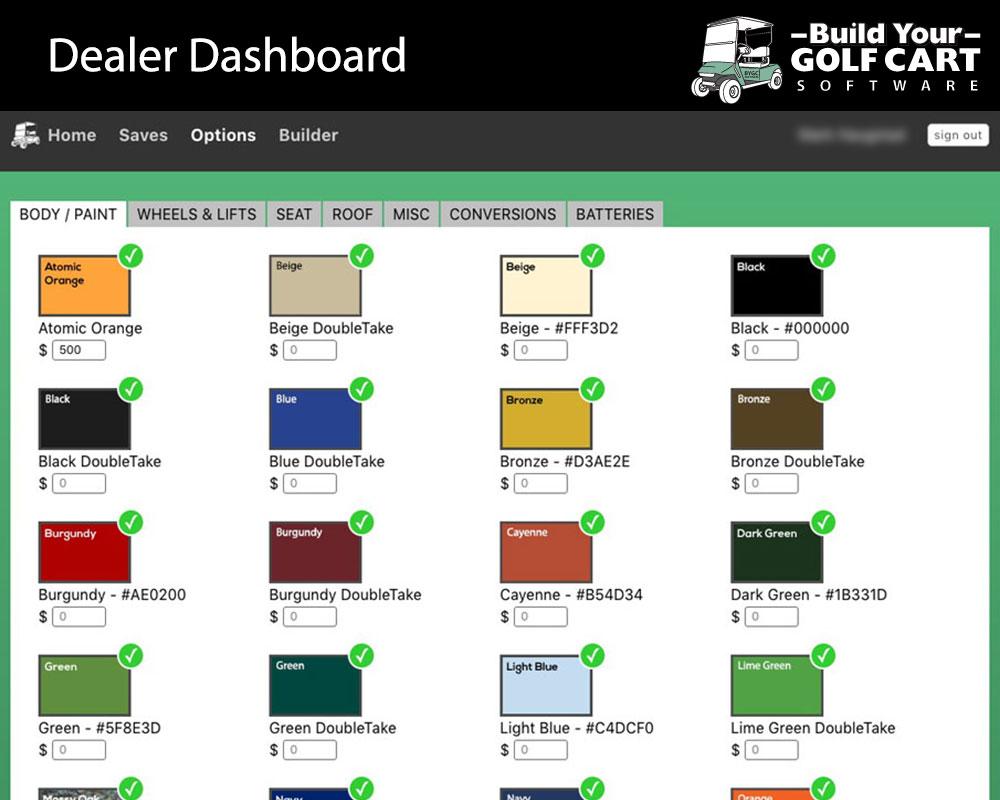 dealer dashboard build your golf cart software paint