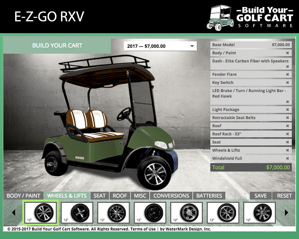 ezgo rxv build your golf cart software