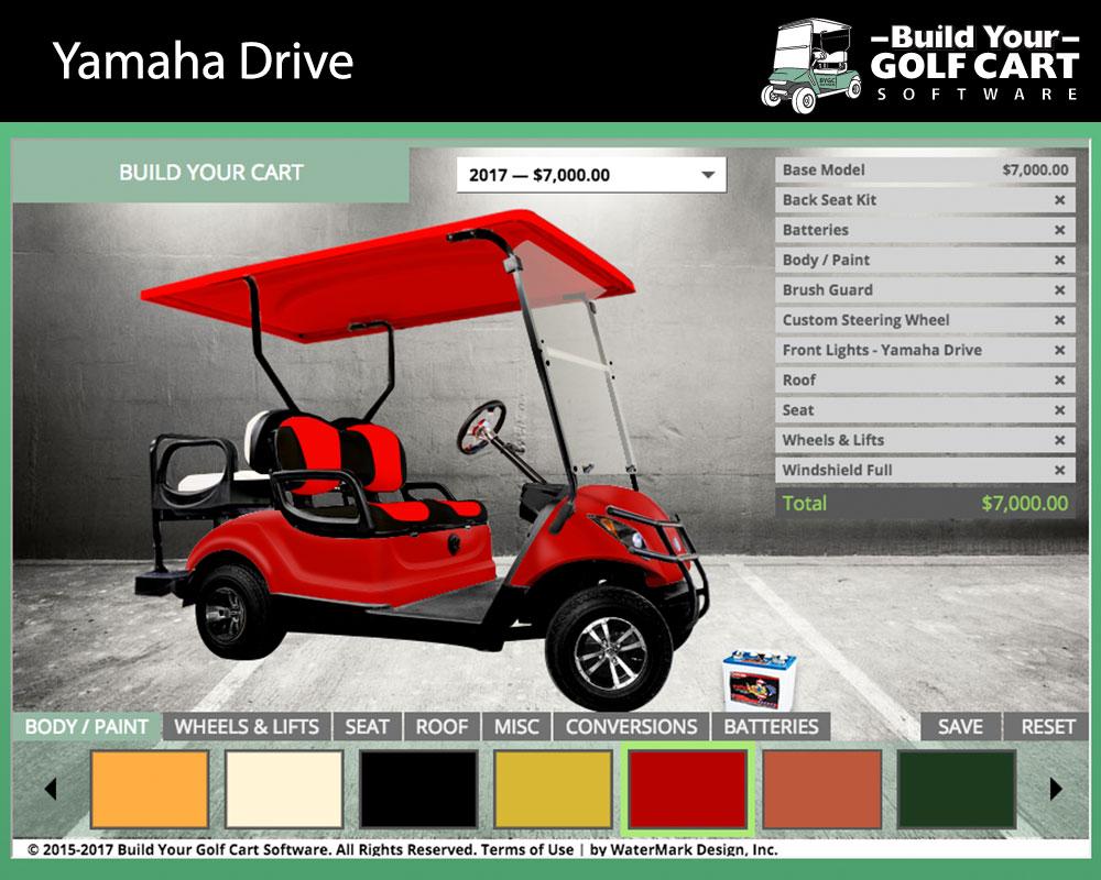 yamaha drive build your golf cart software
