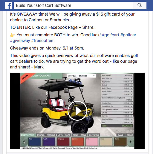 Build Your Own Golf Car – Gift Card Giveaway on Facebook!