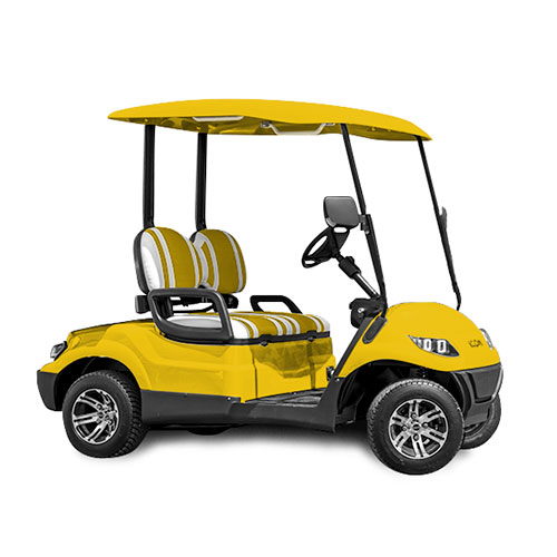 icon ev i20 custom golf cart yellow